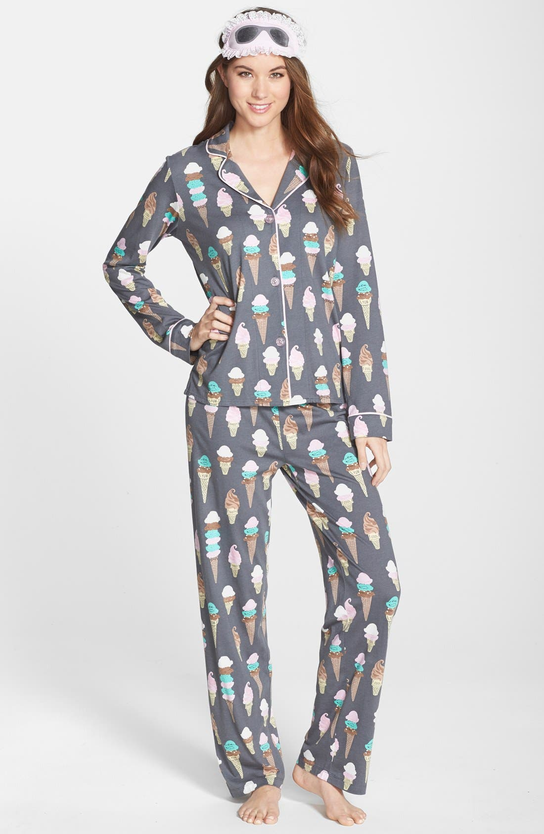 Print Jersey Pajamas, Main, color, 020