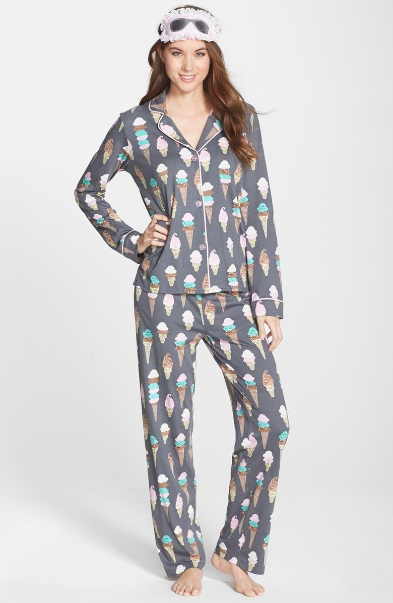 PJ SALVAGE Print Jersey Pajamas, Main, color, 020