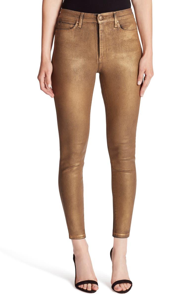 ELLA MOSS Metallic High Waist Ankle Skinny Jeans, Main, color, 710