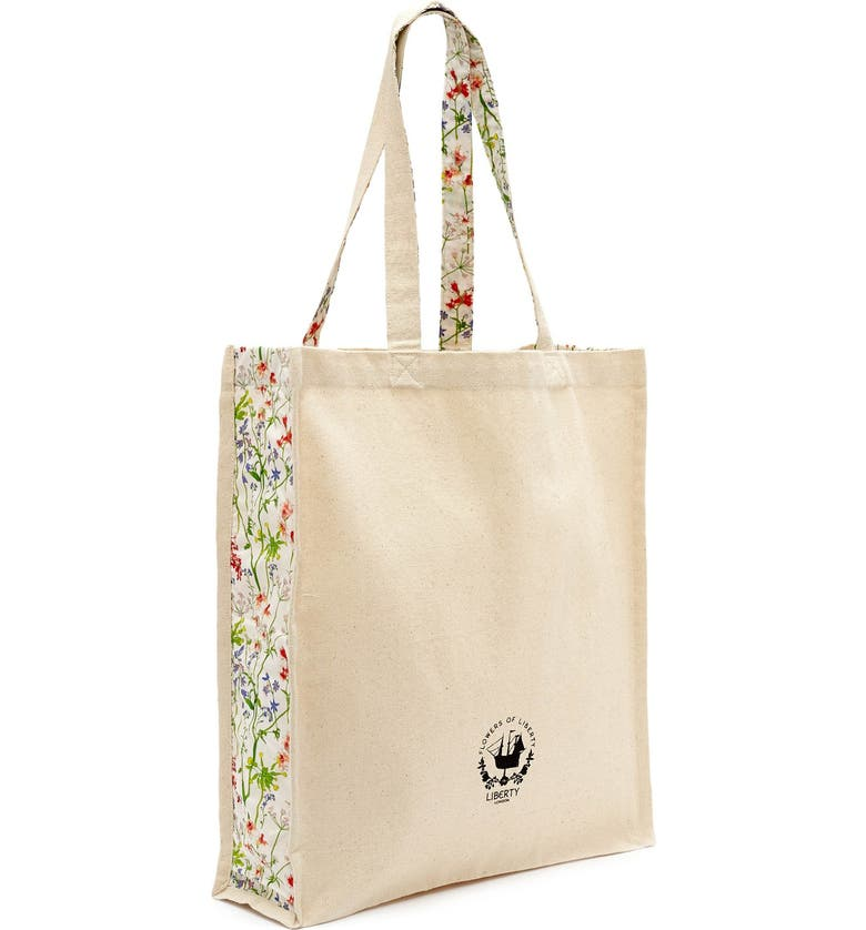 FLOWERS OF LIBERTY Floral Print Canvas Tote, Main, color, THEODORA
