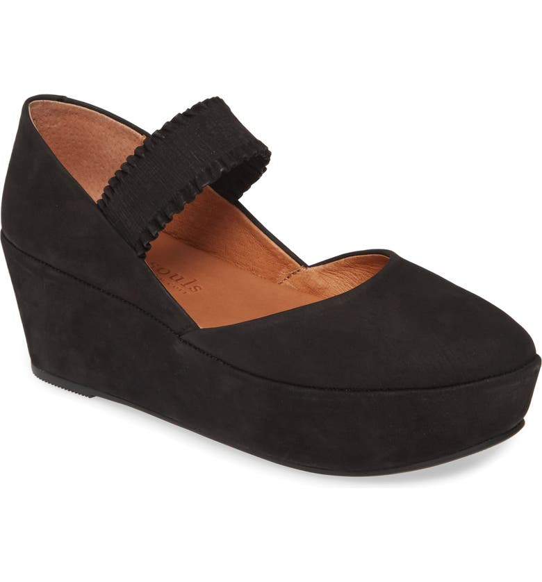 GENTLE SOULS BY KENNETH COLE Nyssa Ruffle Strap Platform Mary Jane, Main, color, BLACK NUBUCK LEATHER