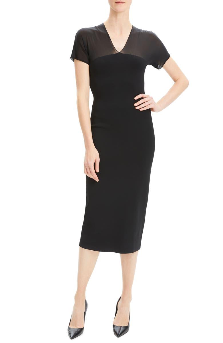 THEORY Short Sleeve Mesh Yoke Dress, Main, color, 001