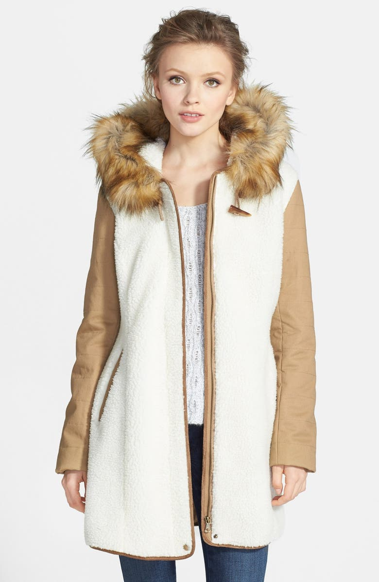 KRISTEN BLAKE Hooded Faux Shearling Anorak with Faux Fur Trim, Main, color, 250