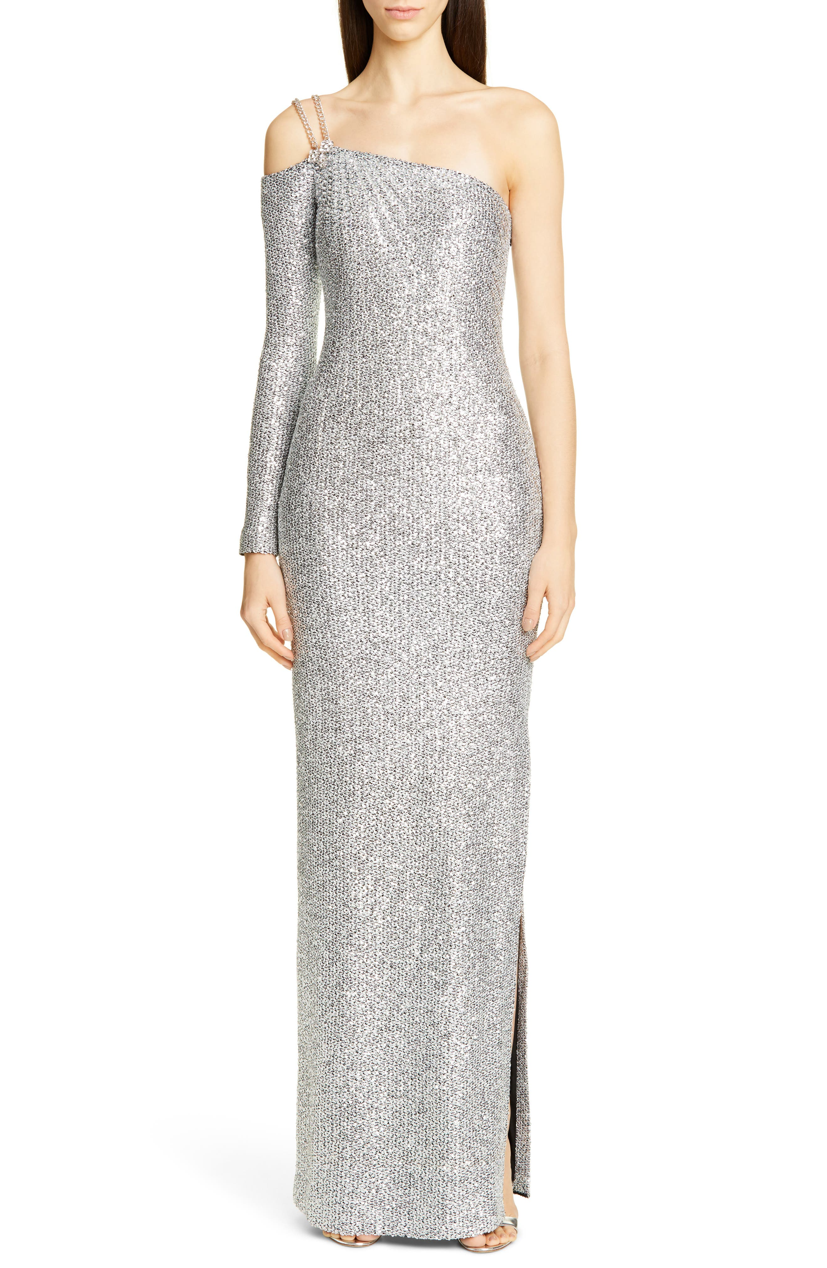St. John Collection Statement Asymmetrical One-Shoulder Sequin Knit Gown, Metallic