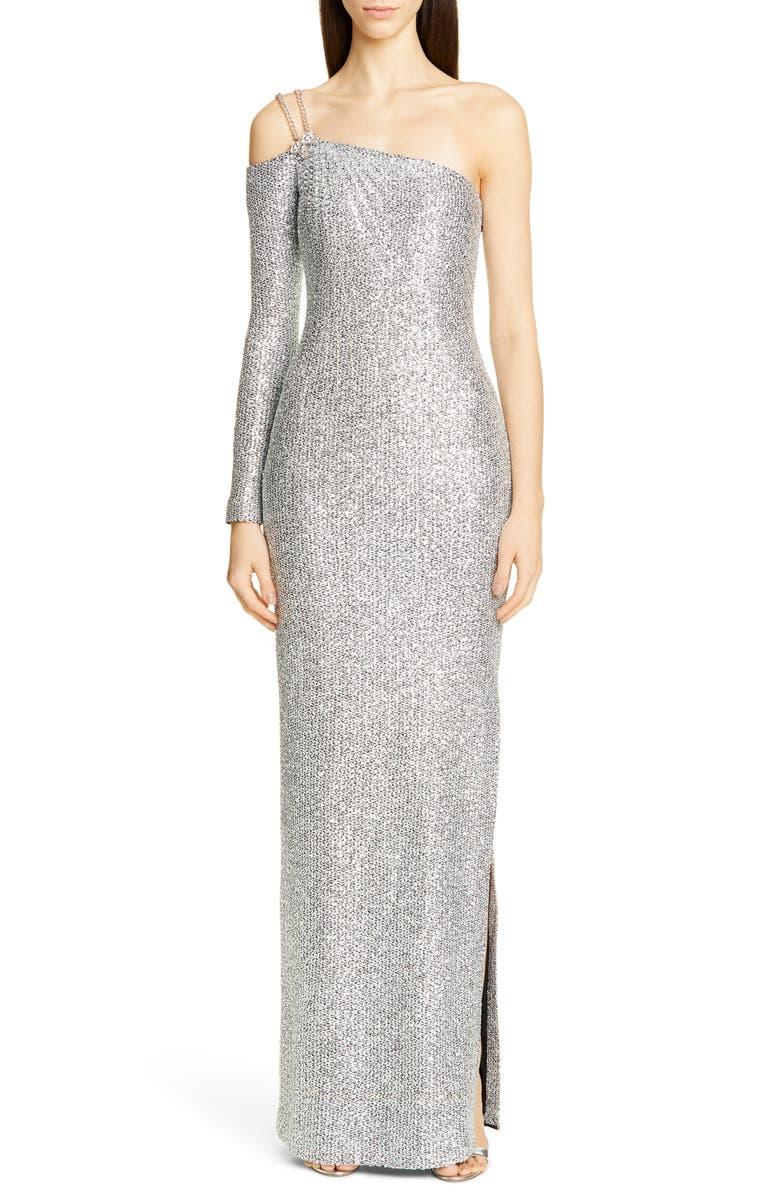 ST. JOHN COLLECTION Statement Asymmetrical One-Shoulder Sequin Knit Gown, Main, color, SILVER/ CAVIAR