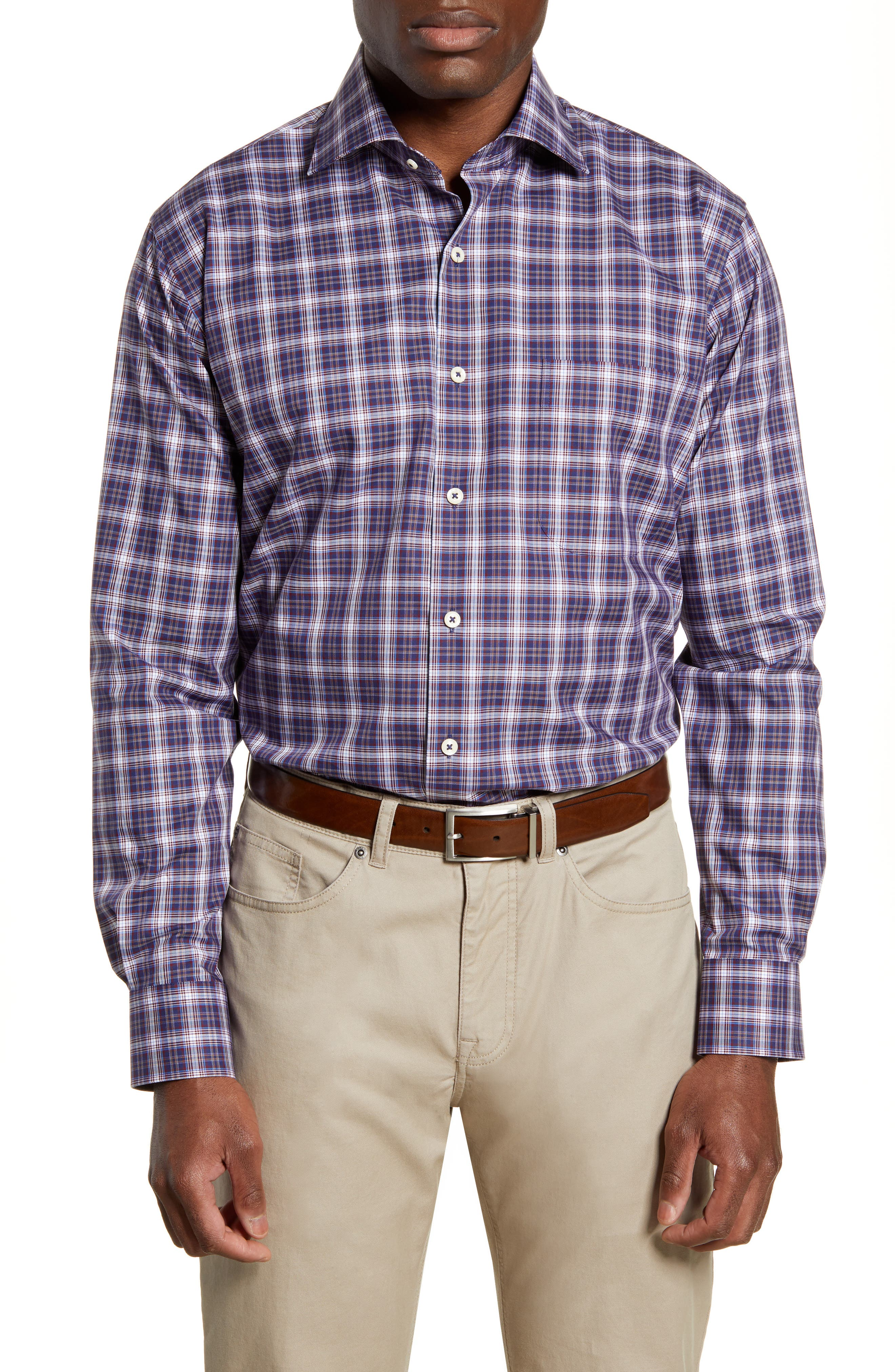 Bold plaid touches up a versatile sport shirt cut from stretchy, soft cotton for flexible comfort. Style Name: Peter Millar Old Forge Regular Fit Plaid Button-Up Sport Shirt. Style Number: 5881736. Available in stores.