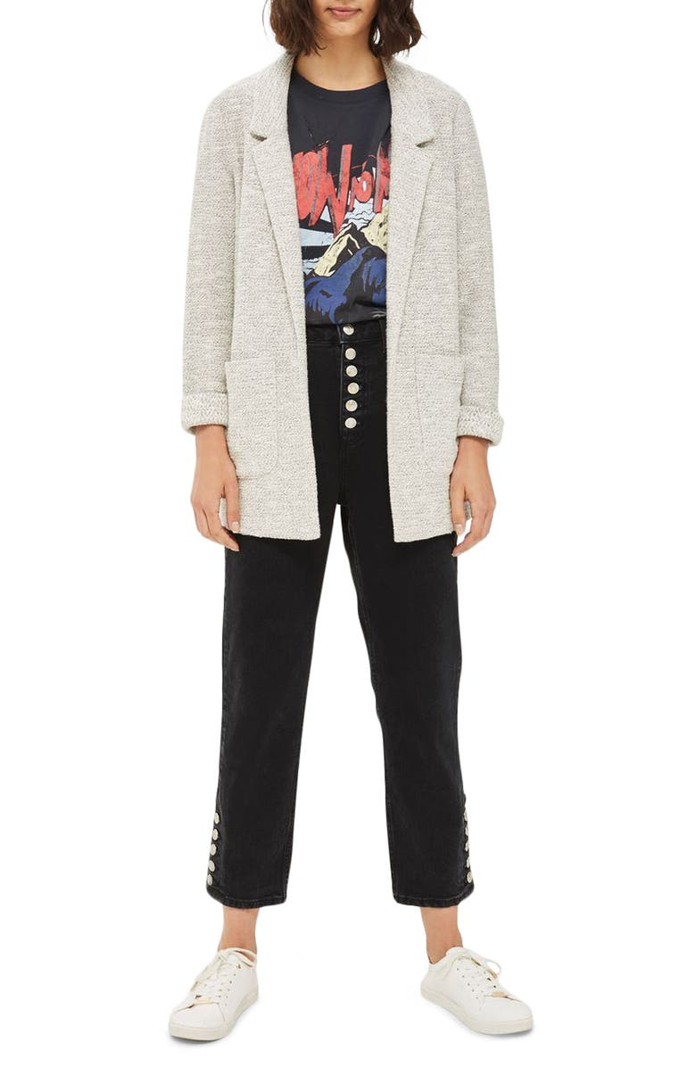 TOPSHOP Textured Jersey Blazer, Main, color, 250