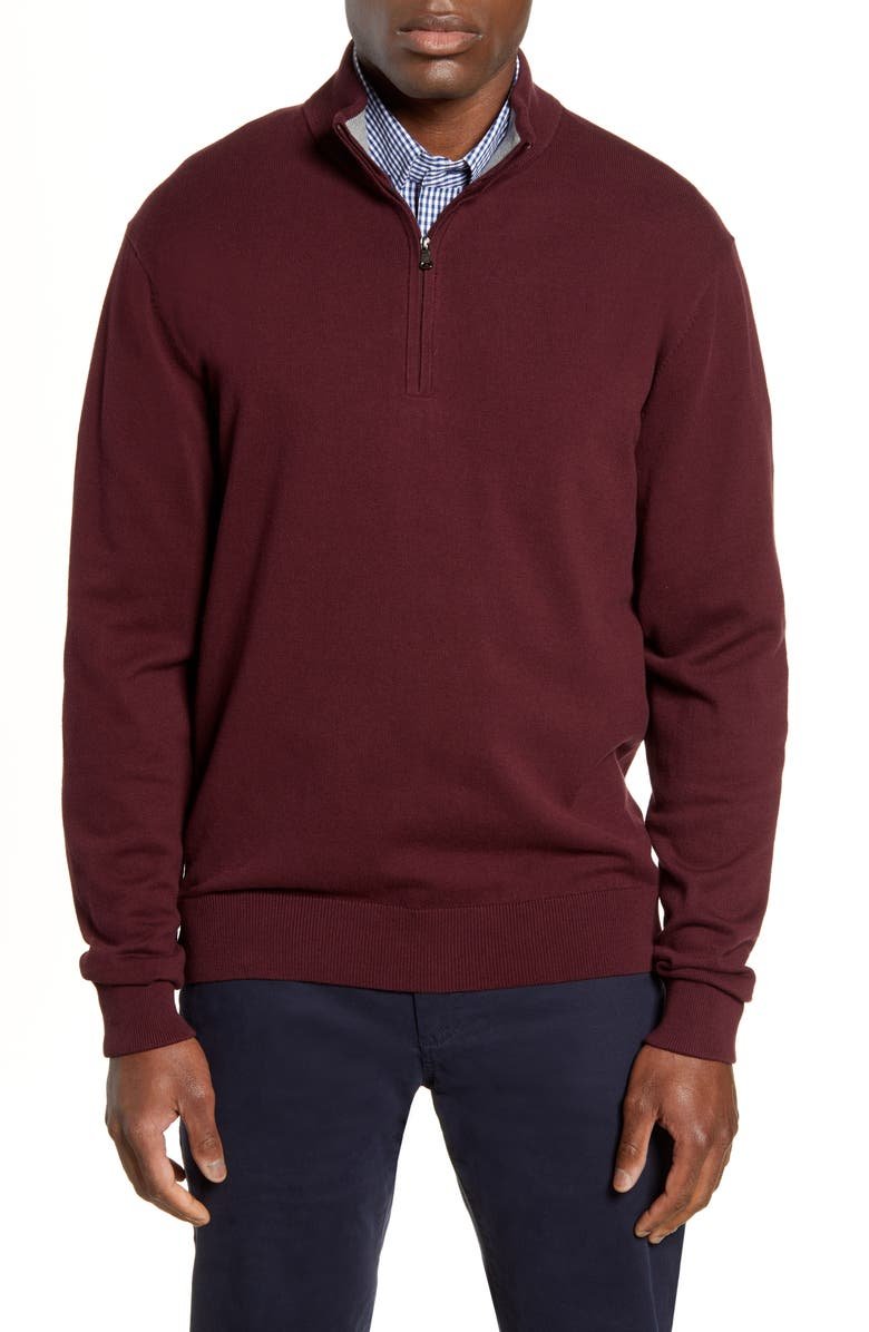 CUTTER & BUCK Lakemont Half Zip Sweater, Main, color, BORDEAUX