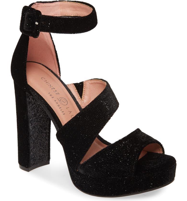 CHINESE LAUNDRY Riddle Platform Sandal, Main, color, BLACK VELVET