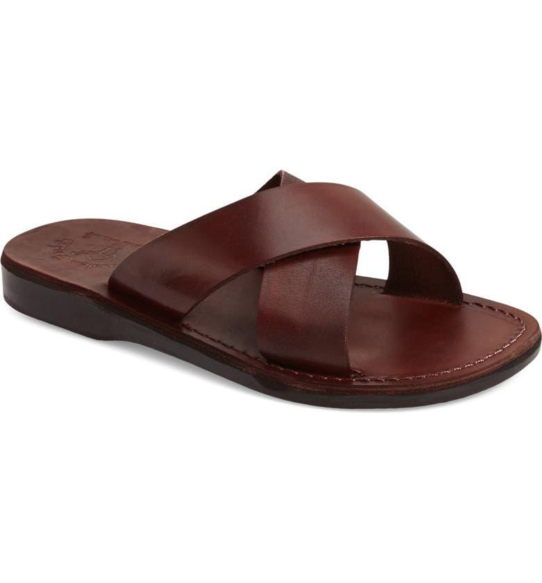 JERUSALEM SANDALS 'Elan' Slide Sandal, Main, color, BROWN LEATHER