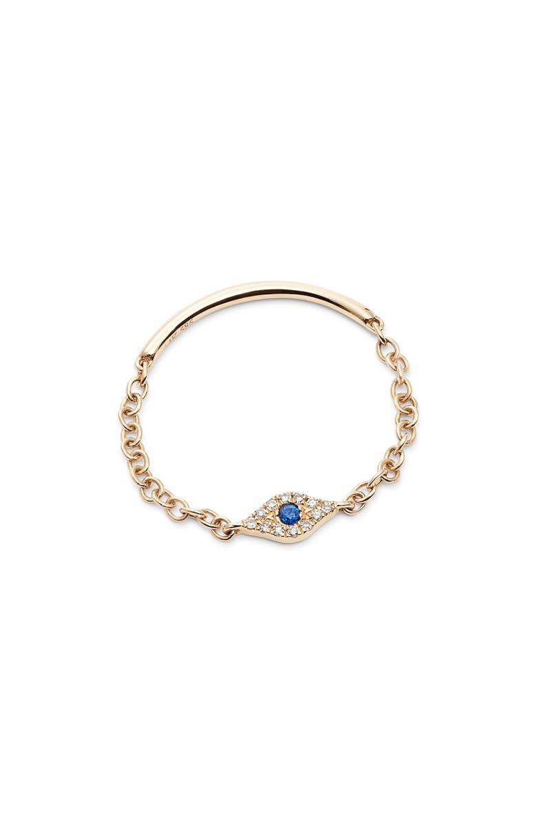 EF COLLECTION Diamond Mini Evil Eye Chain Ring | Nordstrom