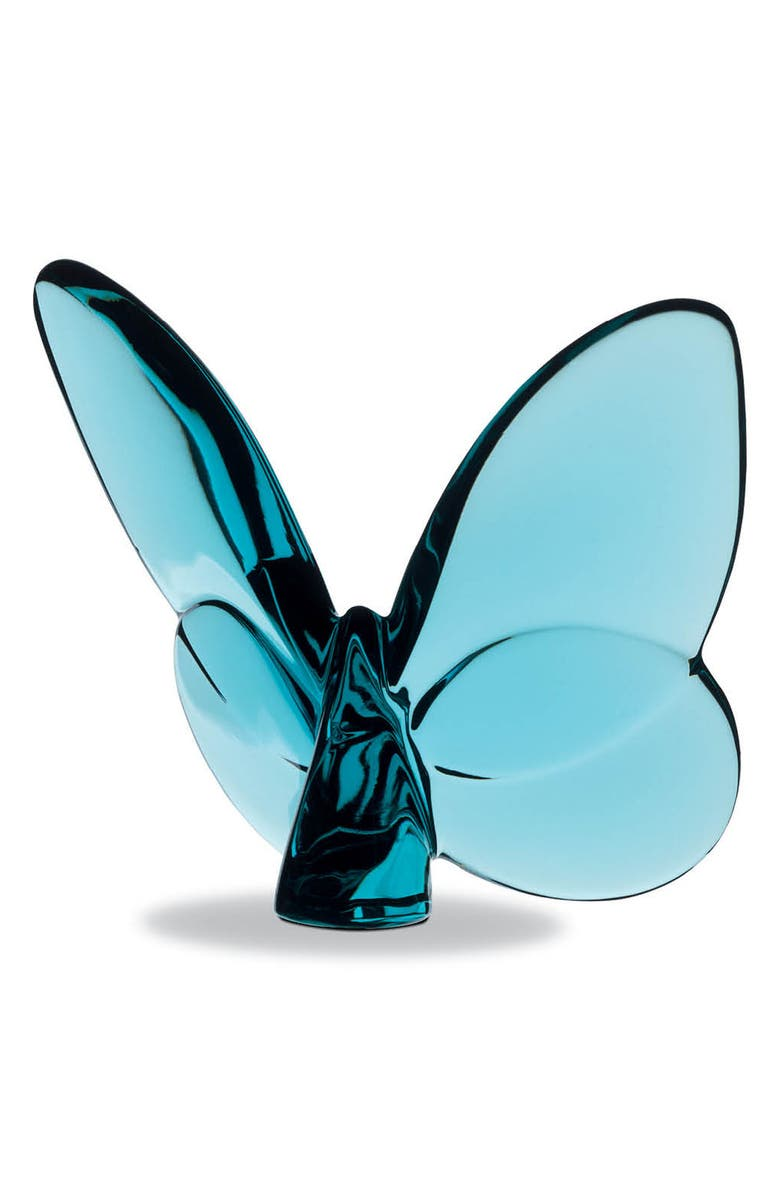BACCARAT Lucky Lead Crystal Butterfly, Main, color, TURQUOISE