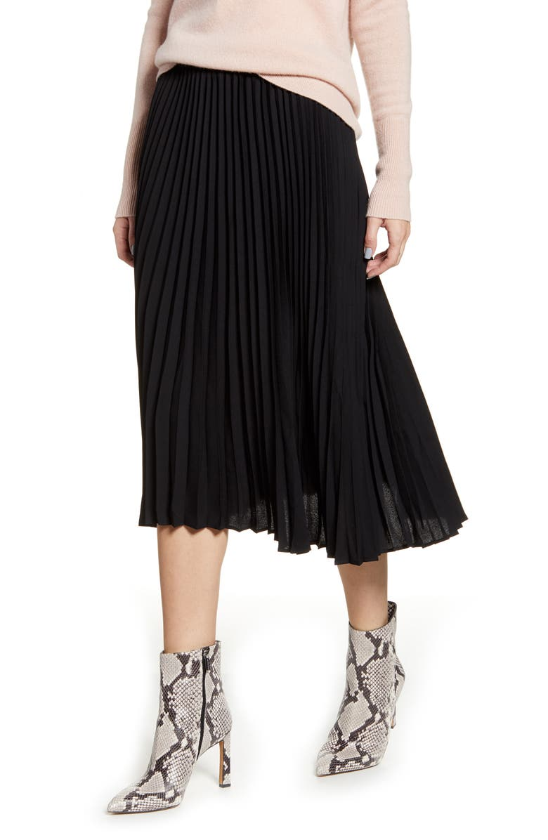 HALOGEN<SUP>®</SUP> Pleated Skirt, Main, color, BLACK