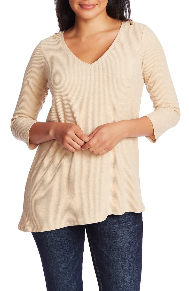 CHAUS Ribbed Brushed Jersey Zip Shoulder Top, Main, color, WILDWOOD