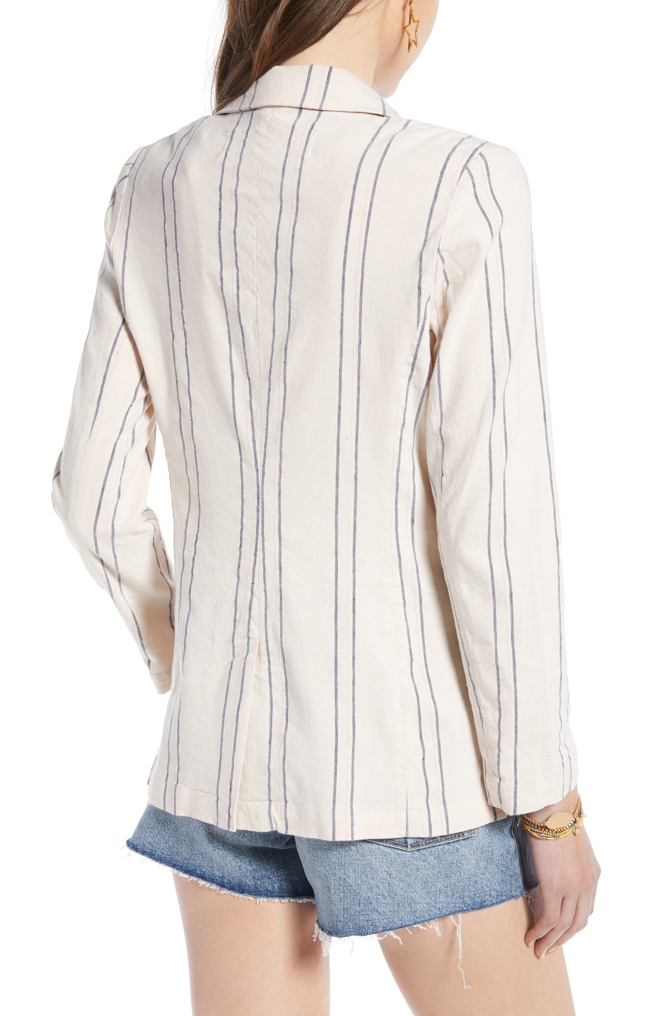 ,                             Stripe Relaxed Blazer,                             Alternate thumbnail 2, color,                             BEIGE BURNT EMMA STRIPE