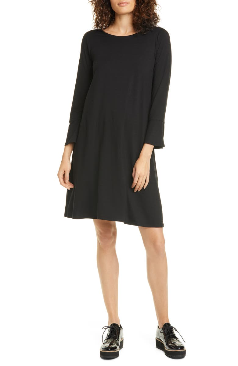 EILEEN FISHER Bell Cuff Tencel<sup>®</sup> Lyocell Blend Jersey Dress, Main, color, BLACK