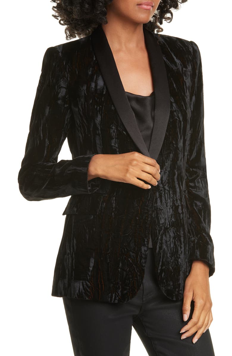 ALICE + OLIVIA Macey Crushed Velvet Blazer, Alternate, color, BLACK