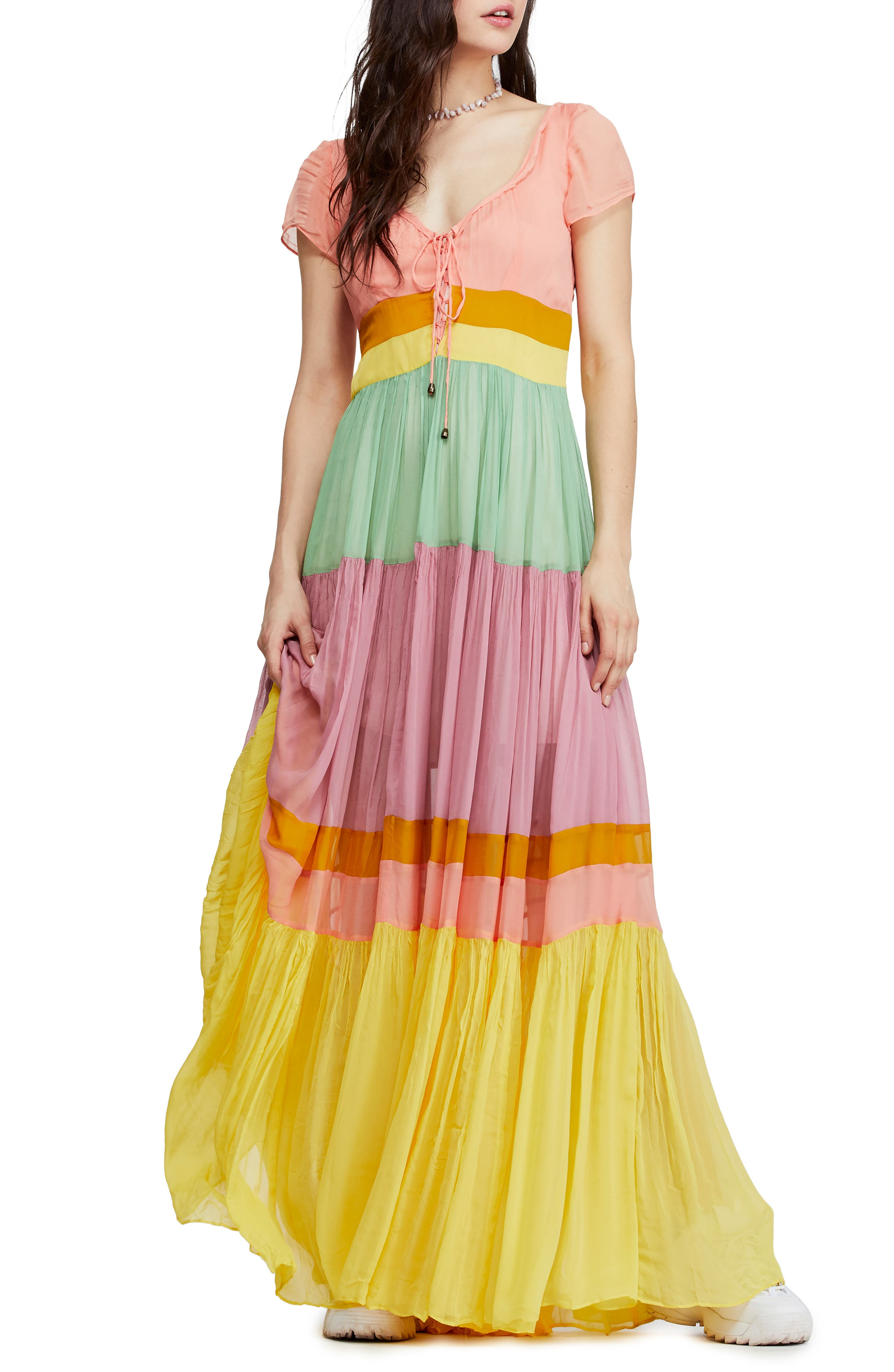 Free People Hocus Pocus Colorblock Maxi Dress, Pink