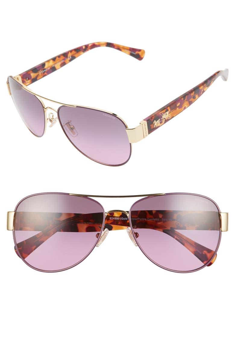 COACH 58mm Gradient Lens Aviator Sunglasses, Main, color, TORTOISE VIOLET/ VIOLET