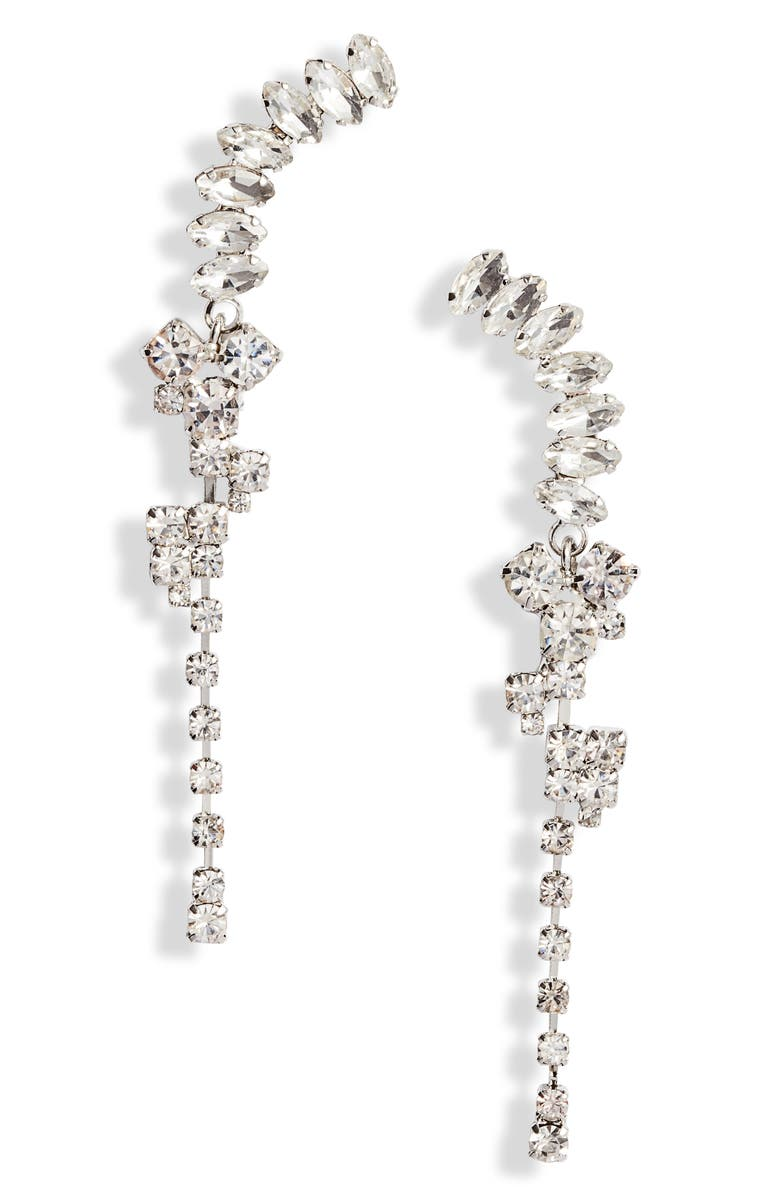 CRISTABELLE Drop Crystal Crawler Earrings, Main, color, 040