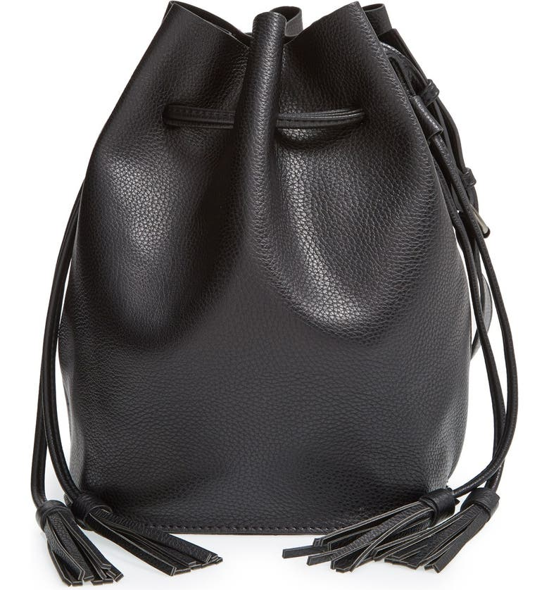 STREET LEVEL Faux Leather Bucket Bag, Main, color, 001