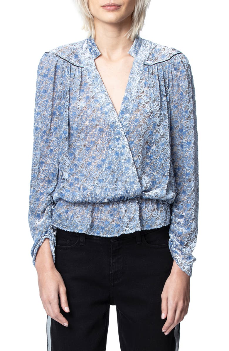 ZADIG & VOLTAIRE Tori Paisley Burnout Velvet Long Sleeve Blouse, Main, color, 400