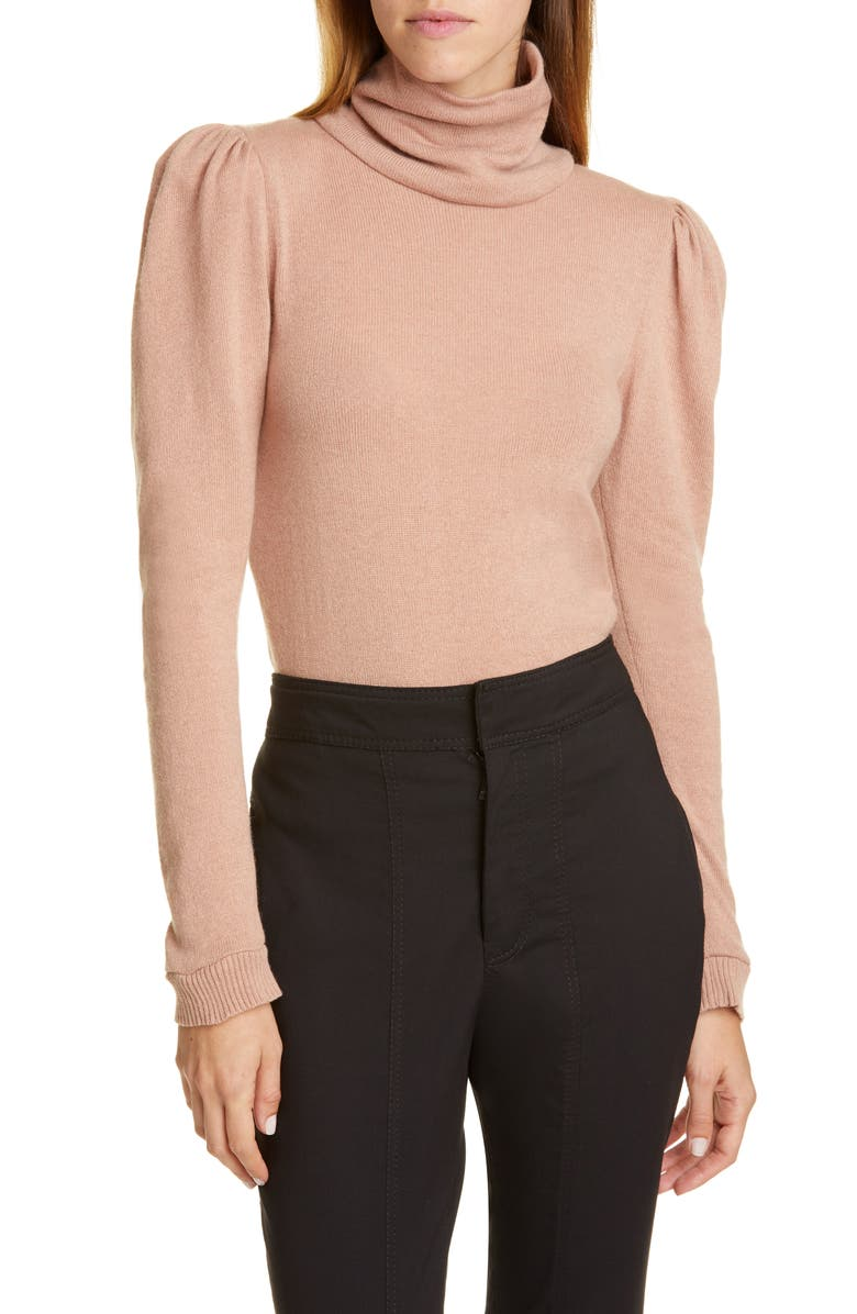 JOHANNA ORTIZ Open Back Puff Shoulder Cashmere Sweater, Main, color, COPPER CARAMEL