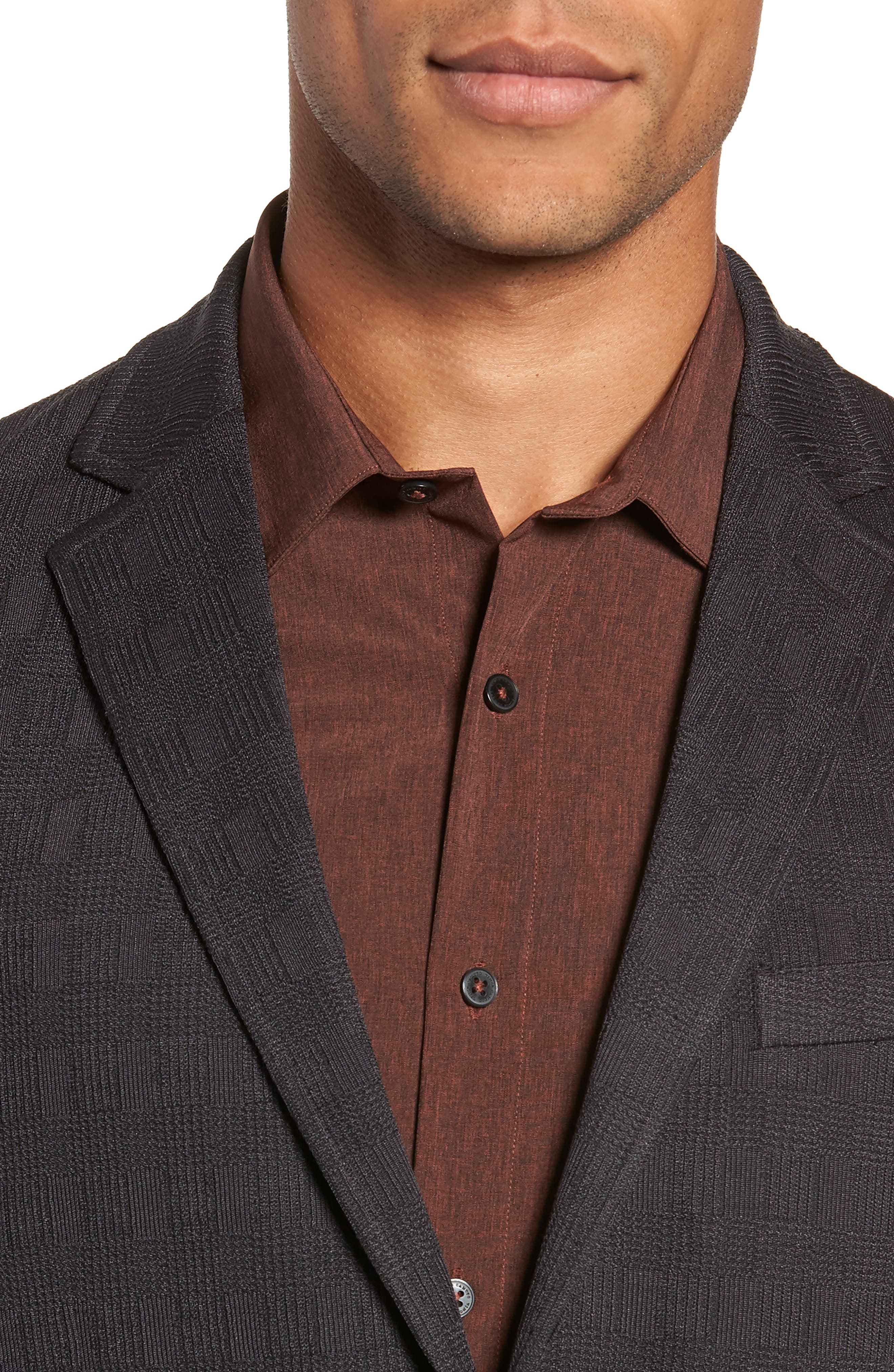,                             Slim Fit Stretch Knit Sport Coat,                             Alternate thumbnail 5, color,                             CHARCOAL CHECK