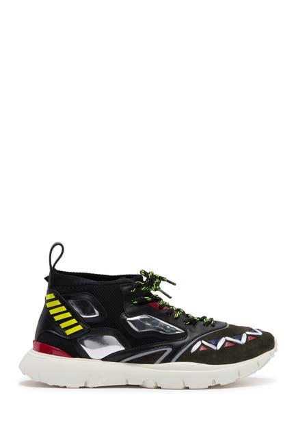 Image of Valentino Geo Design Leather Overlay Mesh Sneaker