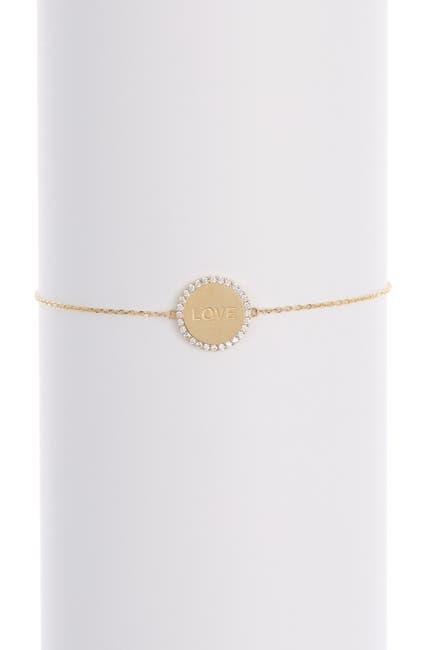 Image of Candela 10K Yellow Gold CZ Love Engraved Disc Bolo Bracelet