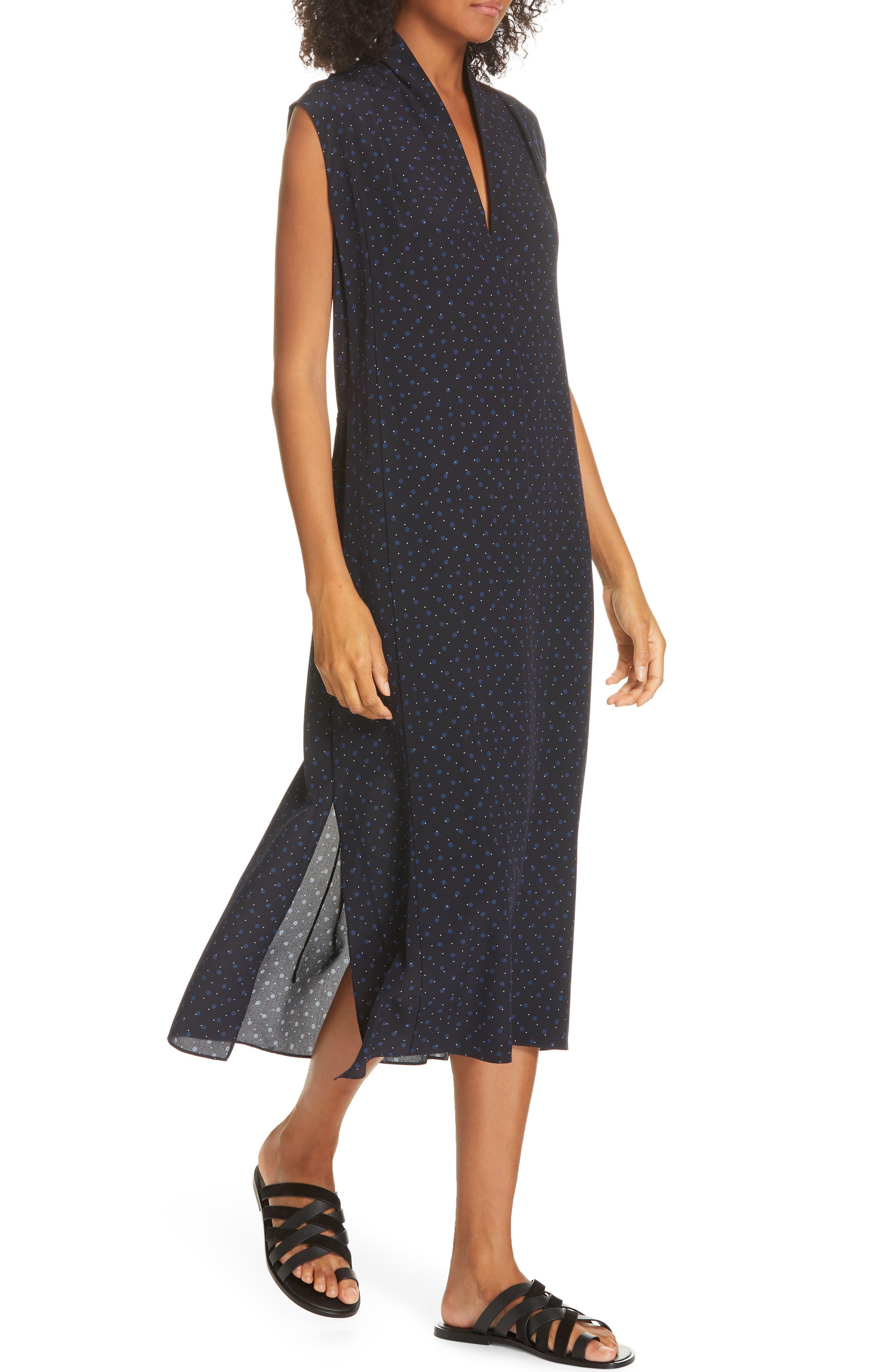 ,                             Shadow Dot Midi Silk Dress,                             Alternate thumbnail 5, color,                             INDIGO