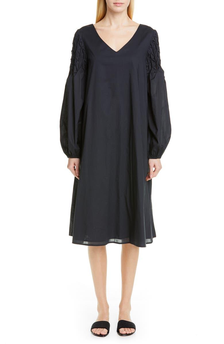 MERLETTE Balboa Smocked Sleeve Midi Dress, Main, color, BLACK/ GOLD
