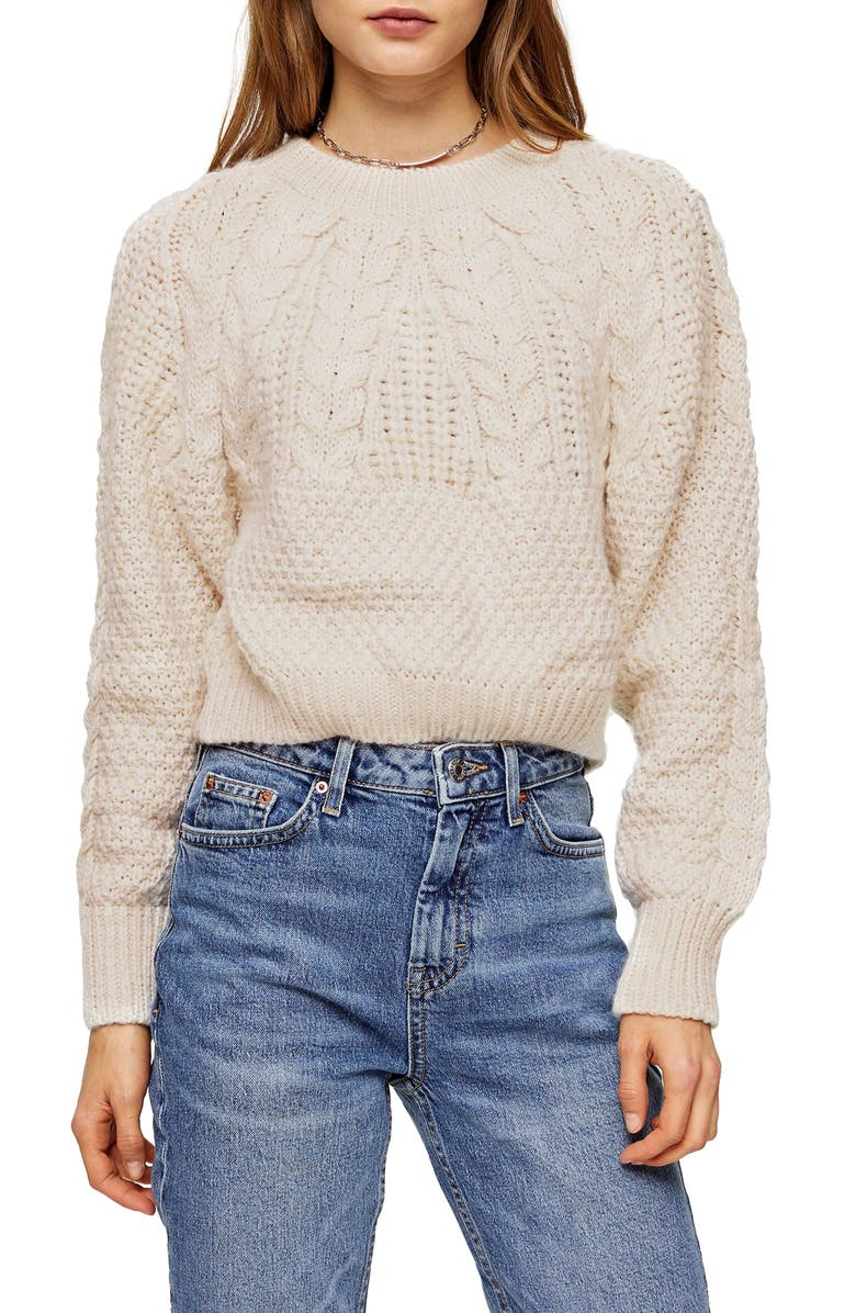 TOPSHOP Cable Knit Crop Sweater, Main, color, OATMEAL