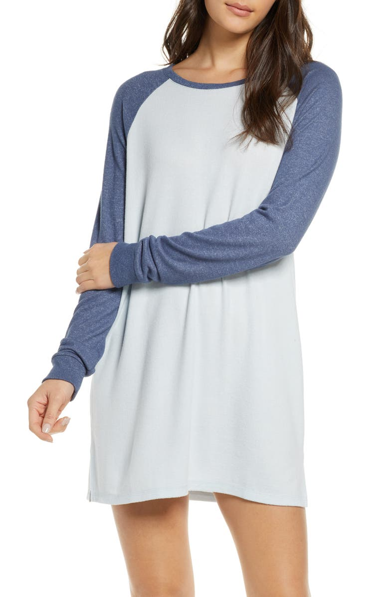 BP. Warm Me Up Long Sleeve Baseball Nightshirt, Main, color, BLUE DRIFT