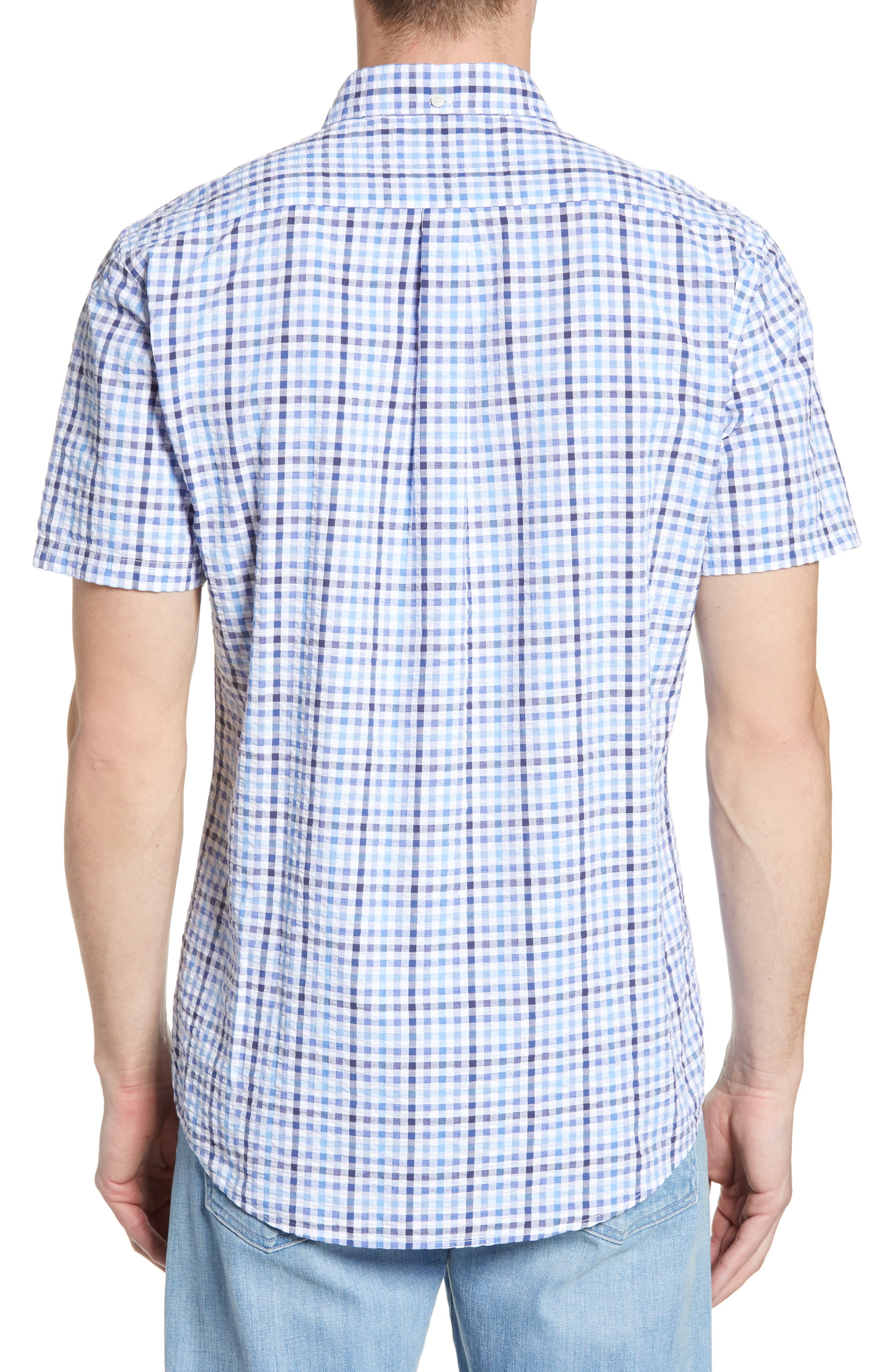 ,                             Tailored Fit Check Seersucker Woven Shirt,                             Alternate thumbnail 3, color,                             NAVY