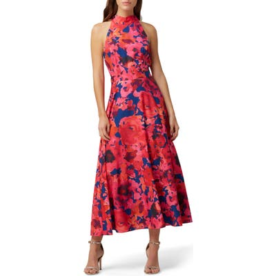 Petite Tahari Floral Halter Neck Crepe De Chine Dress, Coral