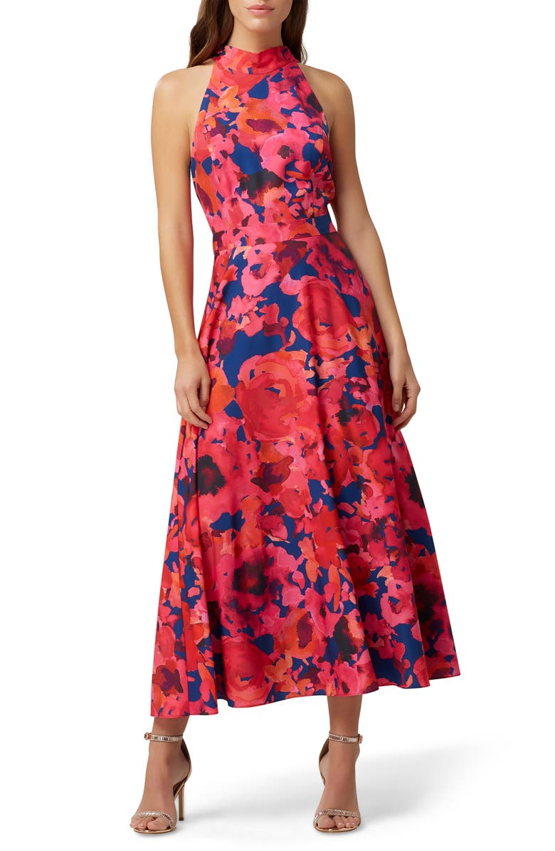 TAHARI Floral Halter Neck Crêpe de Chine Dress, Main, color, NAVY FUSCHIA CORAL
