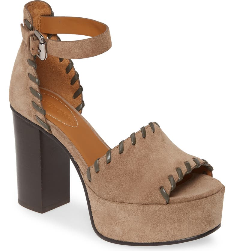 SEE BY CHLOÉ Whipstitch Platform Ankle Strap Sandal, Main, color, TAUPE