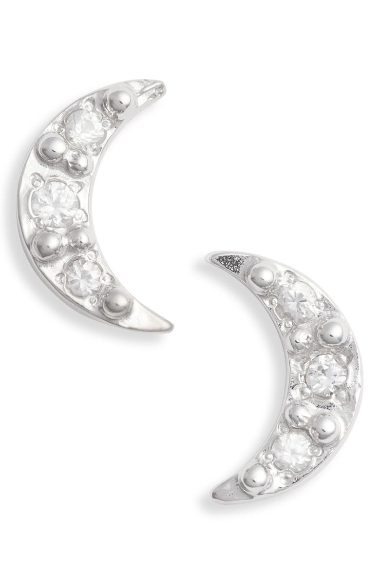 ANZIE Mini Moon Stud Earrings, Main, color, SILVER/ WHITE SAPPHIRE