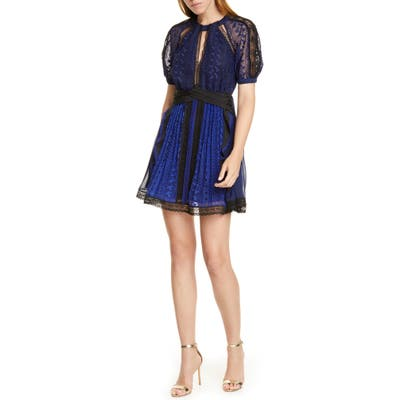 Self-Portrait Geometric Lace Minidress, Blue