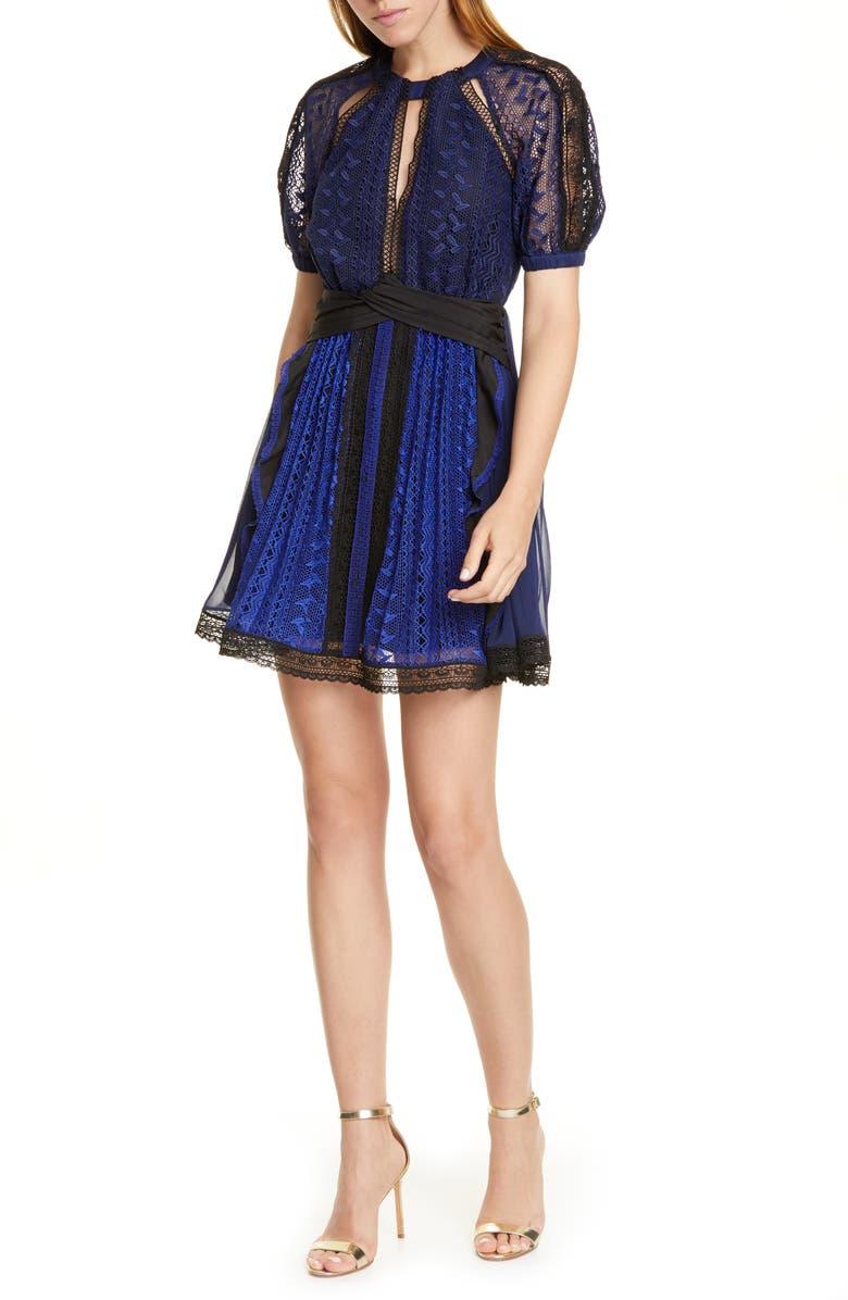 SELF-PORTRAIT Geometric Lace Minidress, Main, color, BLUE