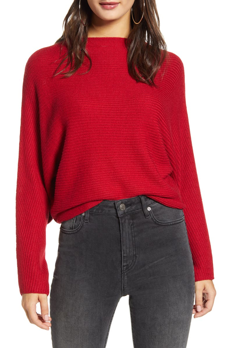 LEITH Dolman Sleeve Crop Sweater, Main, color, RED CHILI
