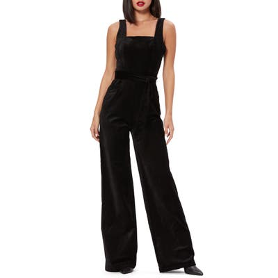 Paige Topanga Sleeveless Stretch Velvet Jumpsuit, Black