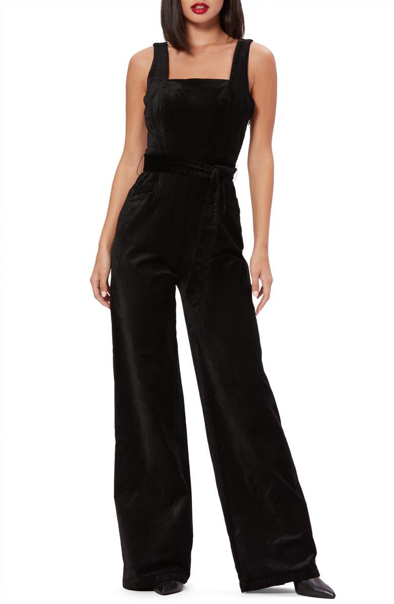 PAIGE Topanga Sleeveless Stretch Velvet Jumpsuit, Main, color, BLACK