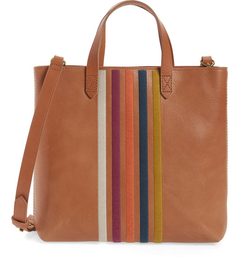 MADEWELL The Transport Stripe Embroidered Zip Top Crossbody Tote, Main, color, DESERT CAMEL RAINBOW