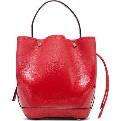 Mcm Mini Milano Logo Leather Bucket Bag - Red