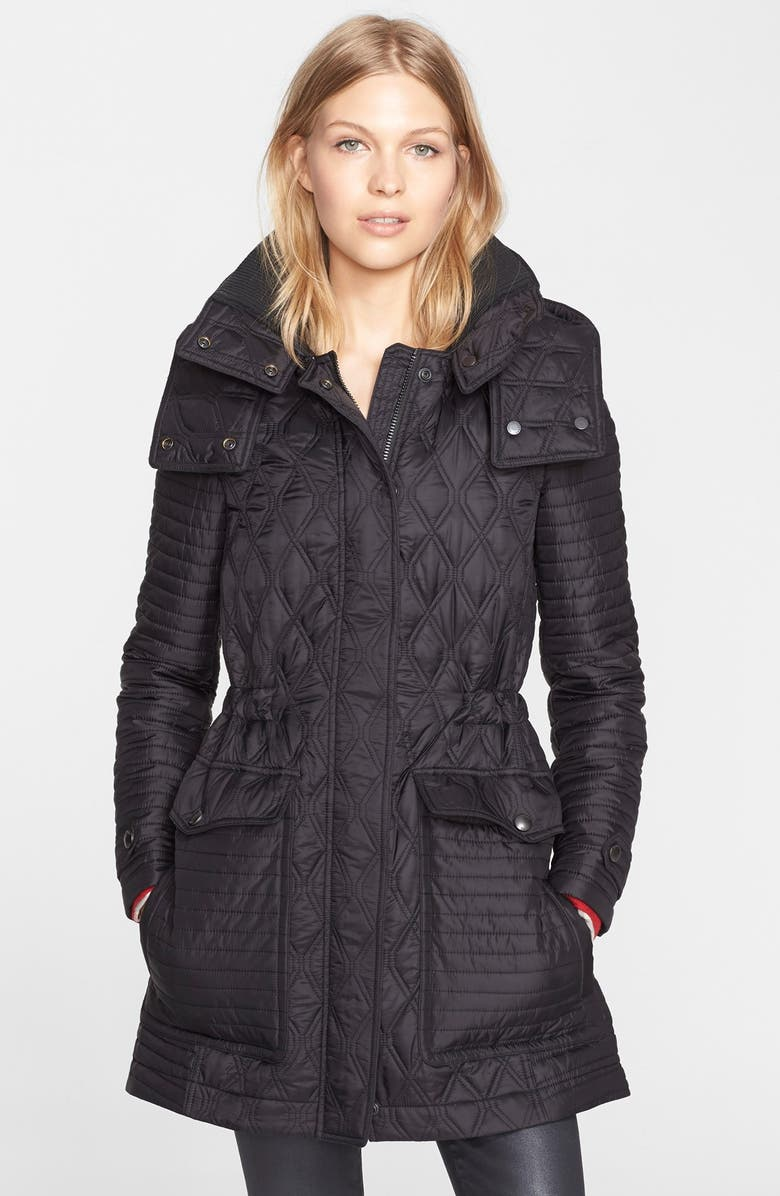 BURBERRY BRIT 'Bosdale' Quilted Coat with Detachable Hood, Main, color, 001