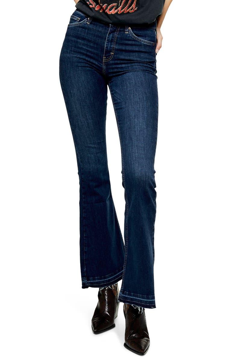 TOPSHOP Jamie Split Hem Flare Leg Jeans, Main, color, INDIGO