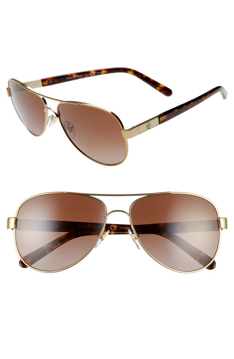 TORY BURCH 57mm Polarized Aviator Sunglasses, Main, color, GOLD/ BROWN GRADIENT