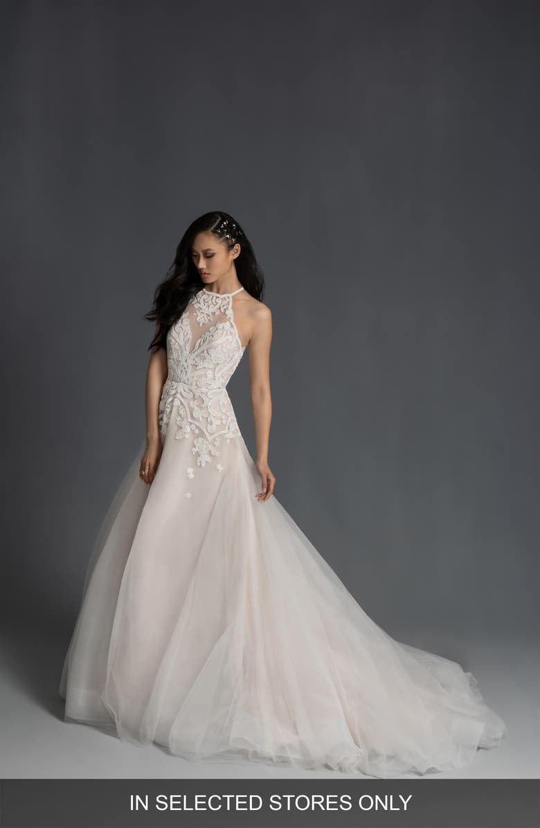 HAYLEY PAIGE Stella Halter Neck Wedding Dress, Main, color, IVORY